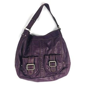 Tignaello Purple Leather Large Shoulder Bag EUC